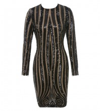 Rayon - Black Round Neck Long Sleeve Above Knee Sequined Stripped Party Bodycon Dress HJ486-Black