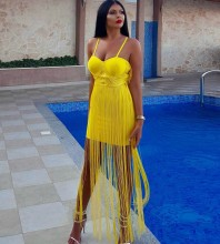 Rayon - Yellow Strapy Sleeveless Maxi Tassels Evening Bandage Dress HJ518-Yellow