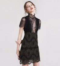 Rayon - Black Halter Shortsleeve Mini Lace Up Mesh Evening Bandage Dress HJ533-Black