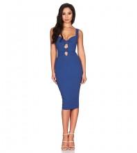 Rayon - Blue Strappy Sleeveless Over Knee Cut Out Fashion Bandage Dress HJ558-Blue