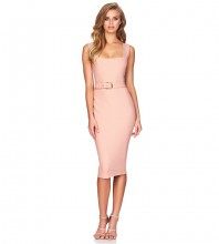 Rayon - Nude Strapy Sleeveless Over Knee Plain Fashion Bandage Dress HJ602-Nude