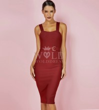 Rayon - Wine Strapy Sleeveless Over Knee Plain Fashion Bandage Dress HJ602-Wine