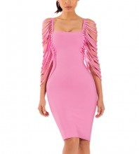 Rayon - Pink Round Neck Sleeveless Mini Cut Out Tassel Fashion Bandage Dress HJ606-Pink