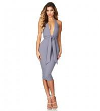 Rayon - Gray Halter Sleeveless Knee Length Backless Bandage Knot Bandage Dress HJ613-Gray