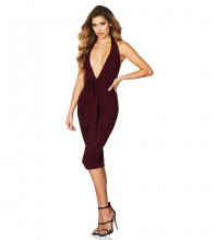 Rayon - Wine Halter Sleeveless Knee Length Backless Bandage Knot Bandage Dress HJ613-Wine