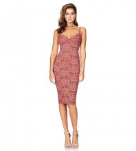 Rayon - Crimson Strapy Sleeveless Over Knee Lace Flower Embriodery Party Bandage Dress HJ634-Crimson