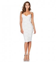 Rayon - White Strapy Sleeveless Over Knee Lace Flower Embriodery Party Bandage Dress HJ634-White