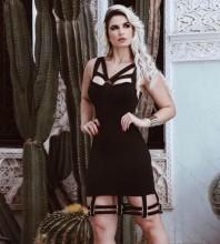 Rayon - Black Strapy Sleeveless Knee Length Bottom Cut Out Plain Unique Bandage Dress HJ635-Black