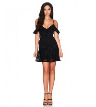 Rayon - Black Strapy Cap Sleeve A Line Lace Bodycon Dress HJ638-Black
