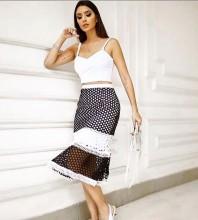 Rayon - White Strapy Sleeveless 2 Piece Bandage Top Mesh Skirt Elegant Bandage Set HJ639-White