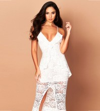 Rayon - White Strappy Sleeveless Maxi Wavy Lace Front Slit Sexy Bodycon Dress HJ640-White