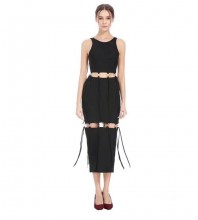 Rayon - Black Round Neck Sleeveless Maxi Metal Circle Connection Cut Out Fashion Bandage Dress HJ641-Black