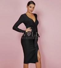 Rayon - Black V Neck Long Sleeve Over Knee Slitted With Belt Elegant Bandage Dress HJ647-Black