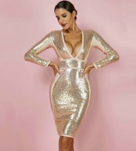 Rayon - Gold V Neck Long Sleeve One Piece Sequins Decorated Popular Bandage Dress HJ671-Gold