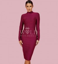 Rayon - Wine Round Neck Long Sleeve Over Knee Length Plain Fashion Bandage Dress HJ672-Wine