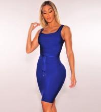 Rayon - Blue Strapy Sleeveless Mini Plain With Belt Cheap Bandage Dress HJ675-Blue