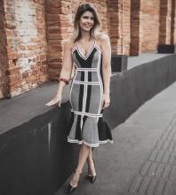 Rayon - Gray Halter Sleeveless Over Knee Fashion Bandage Dress HJ684-Gray