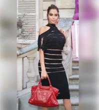 Rayon - Black Tassels Cutout Over Knee Mid Sleeve Halter Bandage Dress HJ697-Black