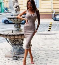 Rayon - Over Knee Frill Khaki Strapy Sleeveless Bandage Dress HJ699-Khaki
