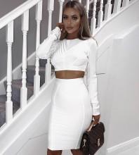 White Round Neck Long Sleeve 2 Piece Plain Simpleness High Quality Bandage Dress HK014-White