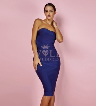 Royal Blue Off Shoulder Sleeveless Over Knee Sexy Bandage Dress HK023-Royal Blue