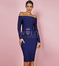 Blue Off Shoulder Long Sleeve Over Knee Popular Bandage Dress HK024-Blue