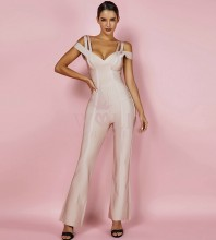 Nude V Neck Cap Sleeve Maxi Strapy High Quality Bandage Jumpsuits HK041-Nude