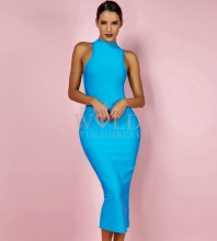 Sky-Blue Round Neck Sleeveless Mini Evening Bandage Dress HK053-Sky-Blue
