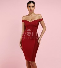 Wine Off Shoulder Sleeveless Over Knee Plain Sexy Bandage Dress HK059-Wine