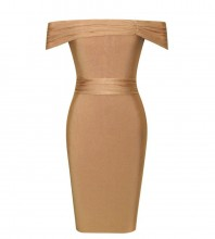 Brown Off Shoulder One Piece Fashion Bandage Dress HK061-Brown