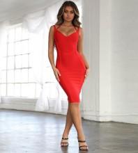 Red Halter Sleeveless Mini Fashion Bandage Dress HK19005-Red