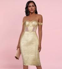 Gold Backless Hollow out Over Knee Short Sleeve Off Shoulder Bandage Dress HL0703-Gold