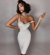 White Backless Chain Midi Sleeveless Strappy Bandage Dress HL7008-White