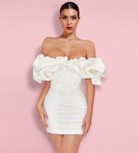 White Off Shoulder Short Sleeve Mini Frill Backless Bodycon Dress HL8218-White