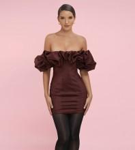 Wine Off Shoulder Short Sleeve Mini Frill Backless Bodycon Dress HL8218-Wine