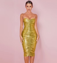 Gold Backless Ruched Over Knee Sleeveless Strapless Bodycon Dress HL8232-Gold