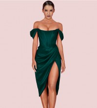 Green Slit Frill Midi Short Sleeve Off Shoulder Bodycon Dress HL8245-Green