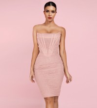 Pink Backless Wrinkled Midi Sleeveless Strapless Bandage Dress HL8256-Pink