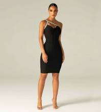Black Hollow out Drill Chain Midi Sleeveless One Shoulder Bandage Dress HL8281-Black