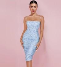 Blue Floral Wrinkled Midi Sleeveless Strappy Bandage Dress HL8289-Blue