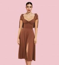 Brown Slit Tie Midi Sleeveless Strappy Bodycon Dress HL8290-Brown