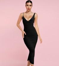 Black Backless Wrinkled Midi Sleeveless Strappy Bandage Dress HL8319-Black