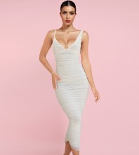 White Backless Wrinkled Midi Sleeveless Strappy Bandage Dress HL8319-White