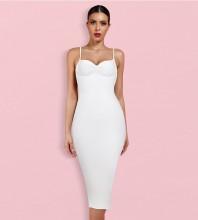 White Backless Plain Over Knee Sleeveless Strappy Bandage Dress HL8323-White