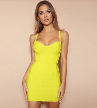 Yellow Backless Striped Mini Sleeveless Strappy Bandage Dress HL8331-Yellow