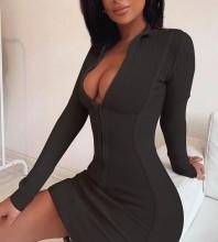 Black Distinctive Striped Mini Long Sleeve High Neck Bandage Dress HL8334-Black