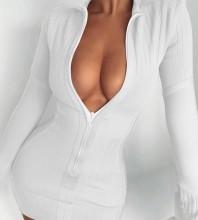 White Distinctive Striped Mini Long Sleeve High Neck Bandage Dress HL8334-White