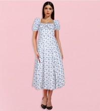 White Slit Floral Midi Short Sleeve Square Collar Bodycon Dress HL8346-White