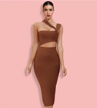Coffee Cut Out Asymmetrical Over Knee Sleeveless Strappy Bandage Dress HL8363-Coffeee