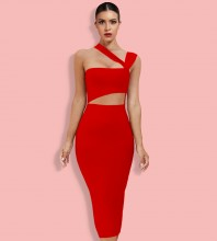 Red Asymmetrical Cut Out Midi Sleeveless Strappy Bandage Dress HL8363-Red